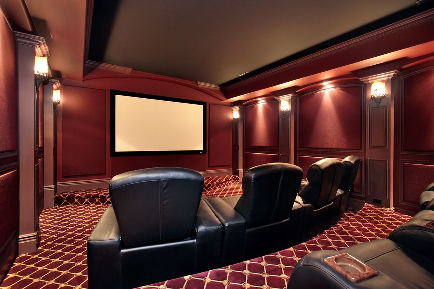 Burgundy Color Scheme Home Cinema Room With Black Leather Chairs, Stadium  Seating And Classical Cinema  Home Theater Room Design Ideas