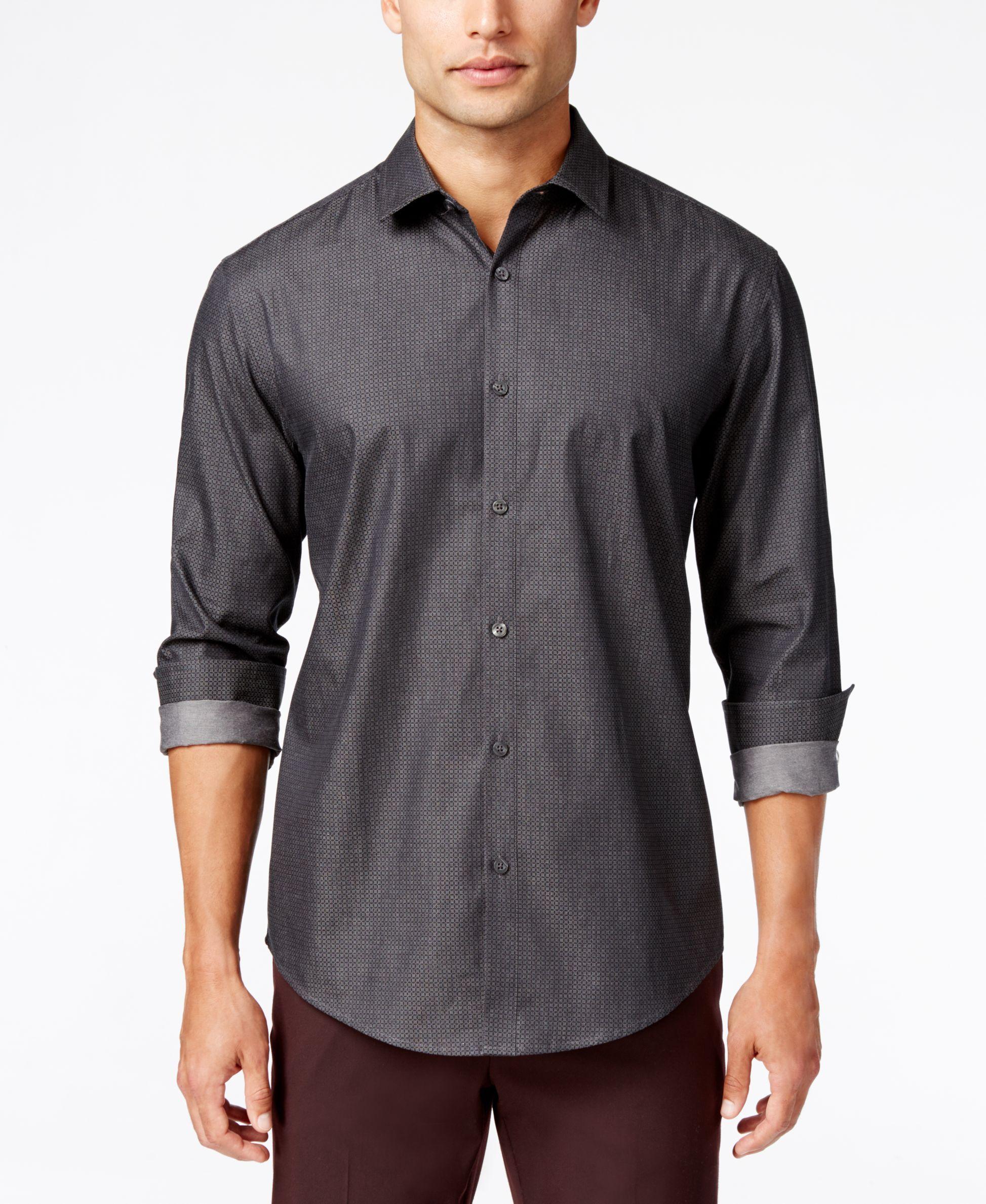 f6ca5626 Alfani Men's Big and Tall Grid Long-Sleeve Shirt, Classic Fit ...