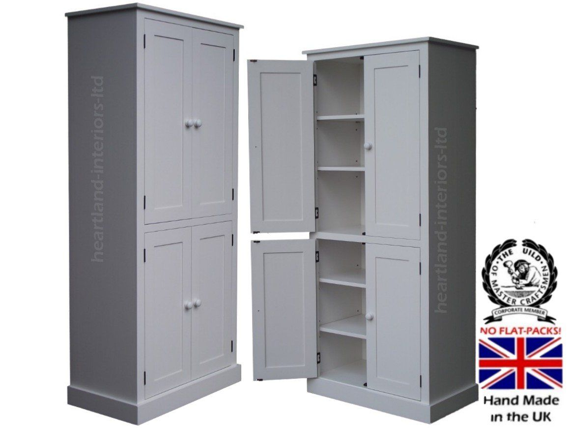 Heartland Direct 100 Solid Wood Cupboard 188 Cm Tall White Painted