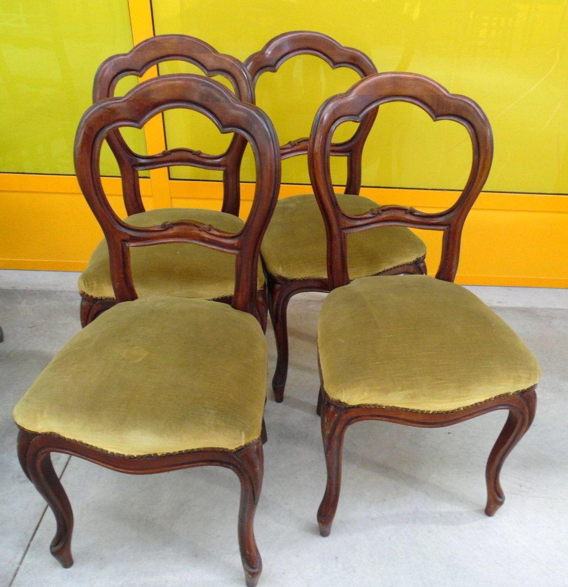 4 sedie Luigi Filippo prima metà del '900 in noce   Sedia ...