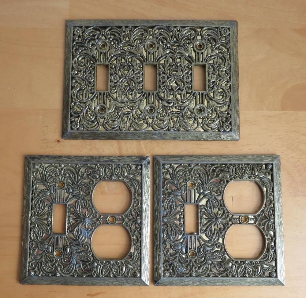 VTG Set of 3 Brass Plated Light Switch Plates and Outlet Covers ...