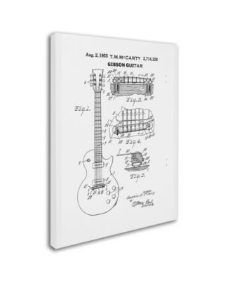 Claire Doherty '1955 Mccarty Gibson Guitar Patent White' Canvas Art - 35 x 47 - Multi #gibsonguitars
