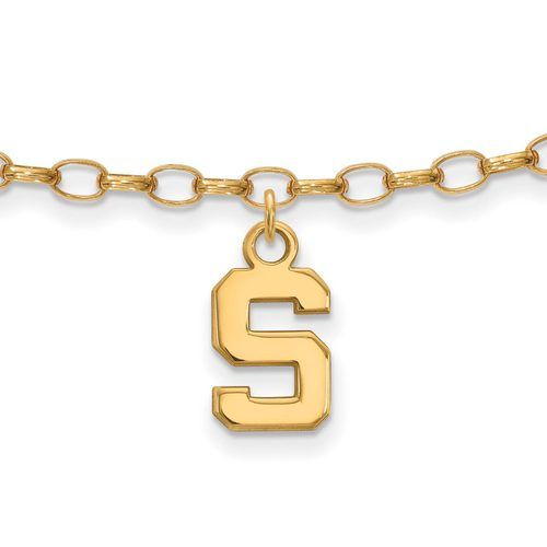 Gold-plated Silver Michigan State University Anklet, Manufacturer Part Number: GP030MIS at HomeBello.