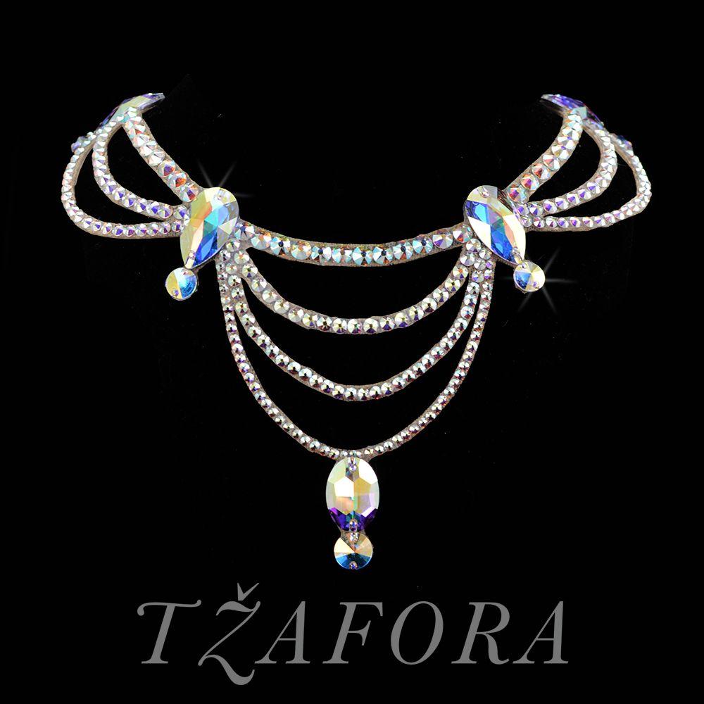 """After You're Gone"" - Swarovski ballroom necklace. Ballroom dance jewelry, ballroom dance dancesport accessories. www.tzafora.com Copyright ©️️ 2017 Tzafora."