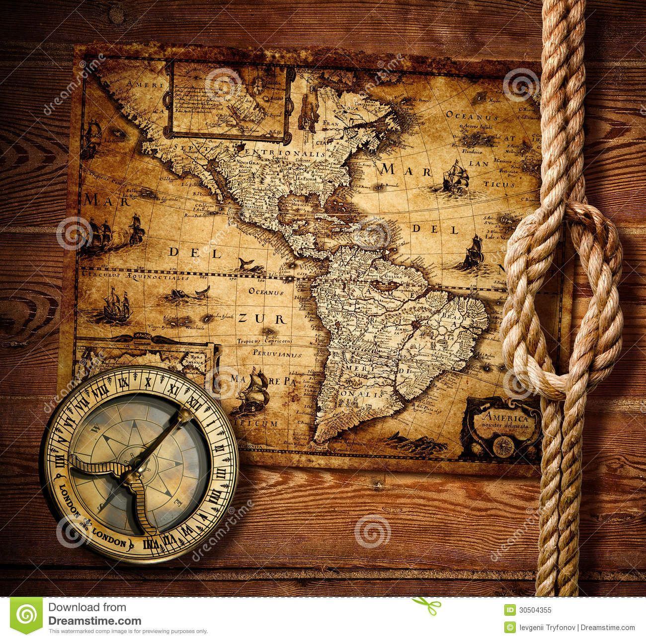 Photo About Old Compass And Rope On Vintage Map Of America Image Of Background Illustration America 30504355 Vintage Maps Antique Maps Vintage Map