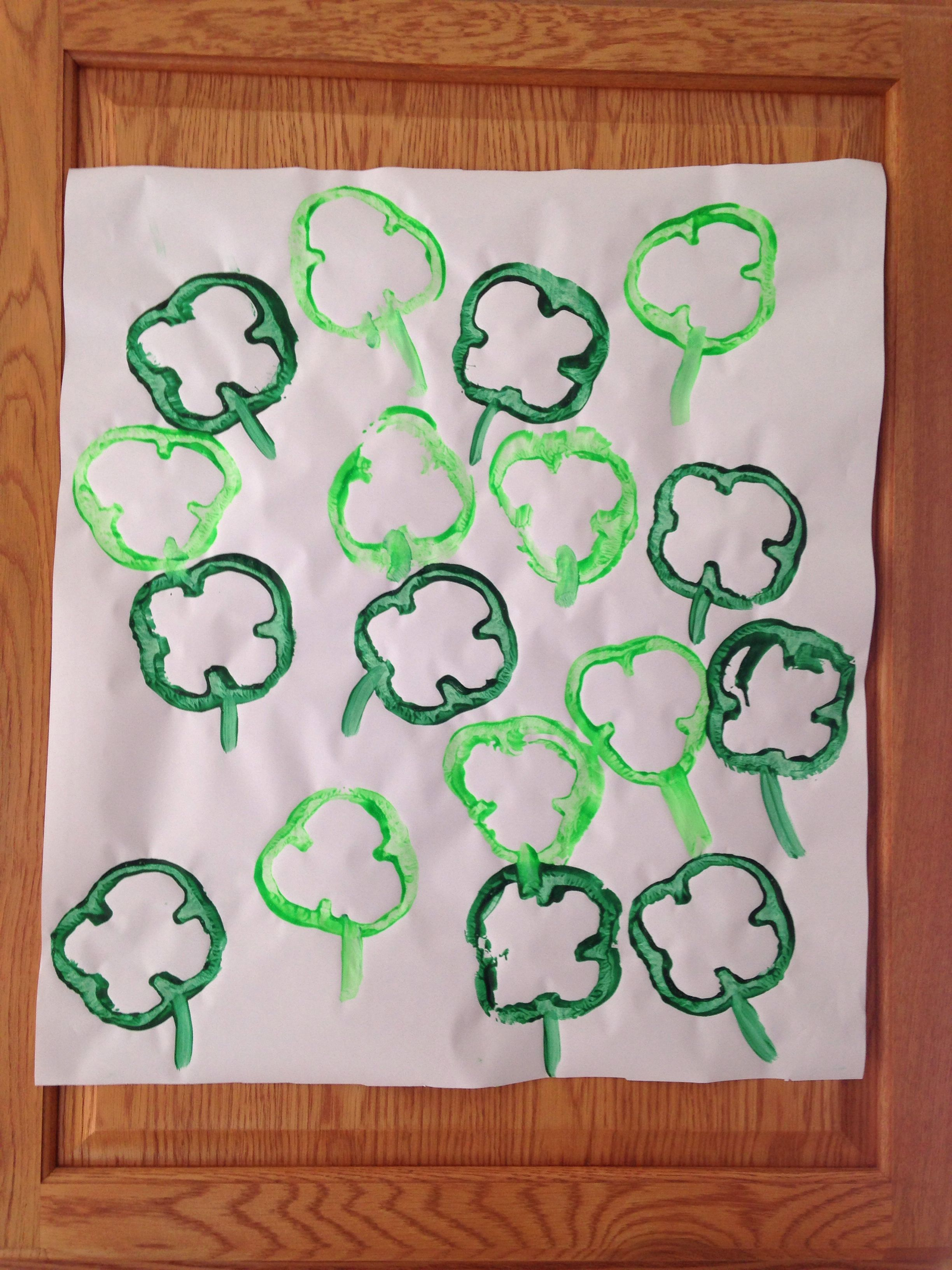 Green Pepper Shamrock Painting