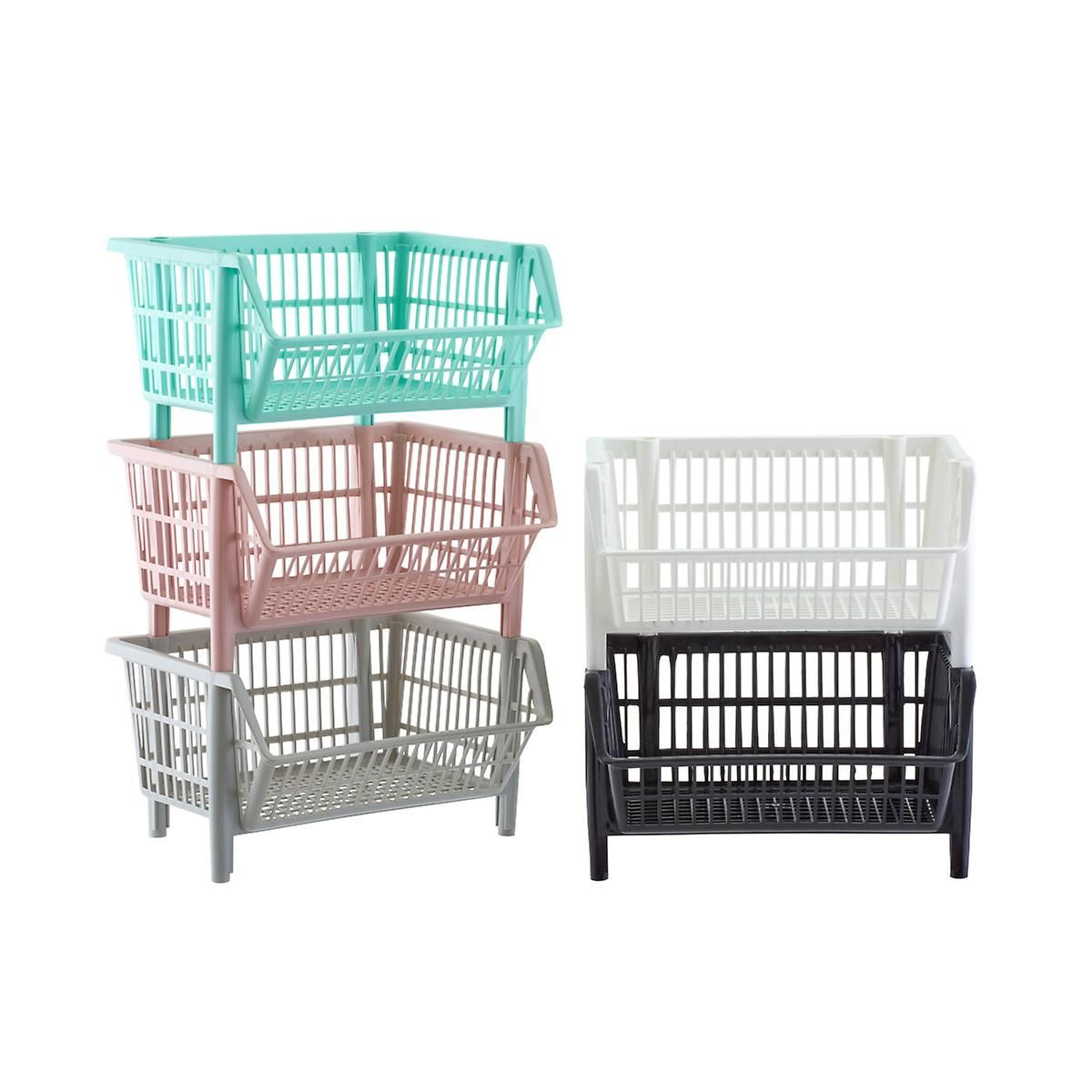 Our Basic Black Stackable Baskets Stackable Baskets Laundry Room Storage Shelves Small Laundry Room Organization
