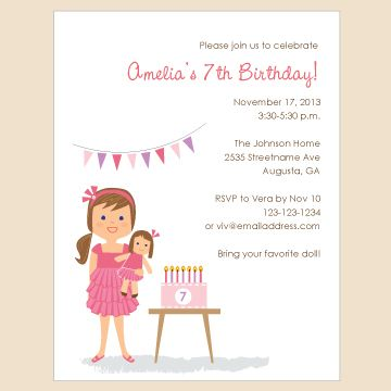 Olliegraphic Printable Invite Girl American Doll Birthday