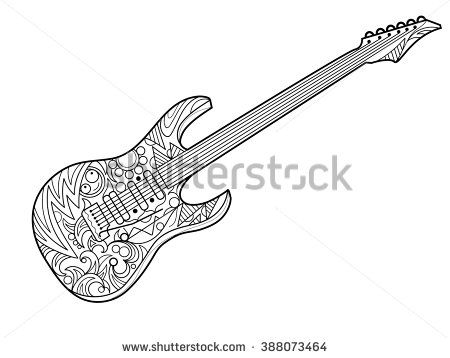 stock vector electric guitar coloring book for adults coloring pages doodles