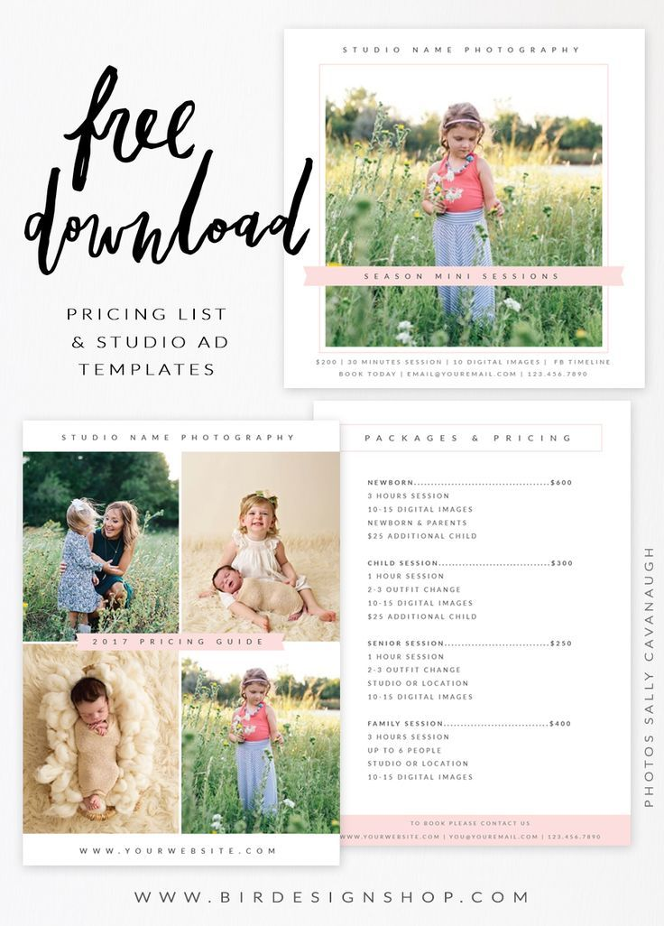 FREE Photoshop Template Pricing Guide List From Bird Design Shop