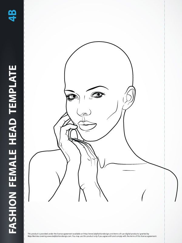 Fashion Female Head Template for Fashion Hairstyle, Jewelry or - fashion designer templates