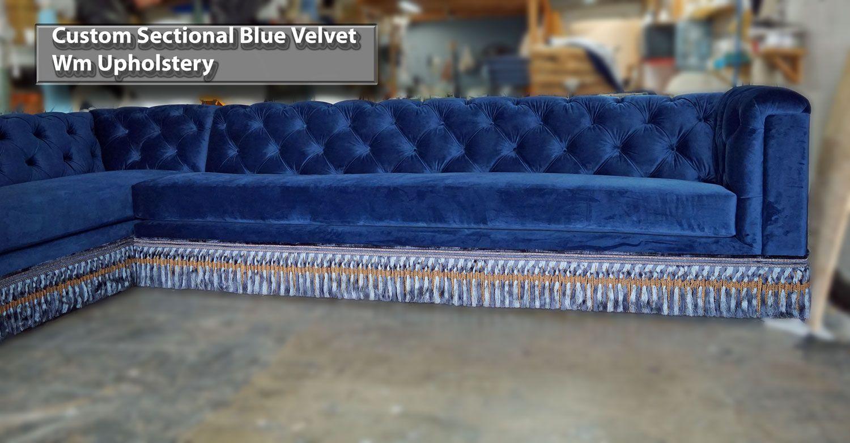 Custom Velvet Sectionals Sofa With Bullion Sofas Los Angeles