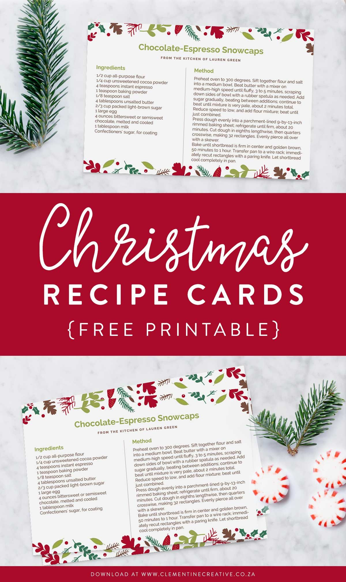 Printable Christmas Recipe Card Editable Pdf Template Clementine Creative Christmas Recipe Cards Recipe Cards Template Christmas Recipe Cards Printable
