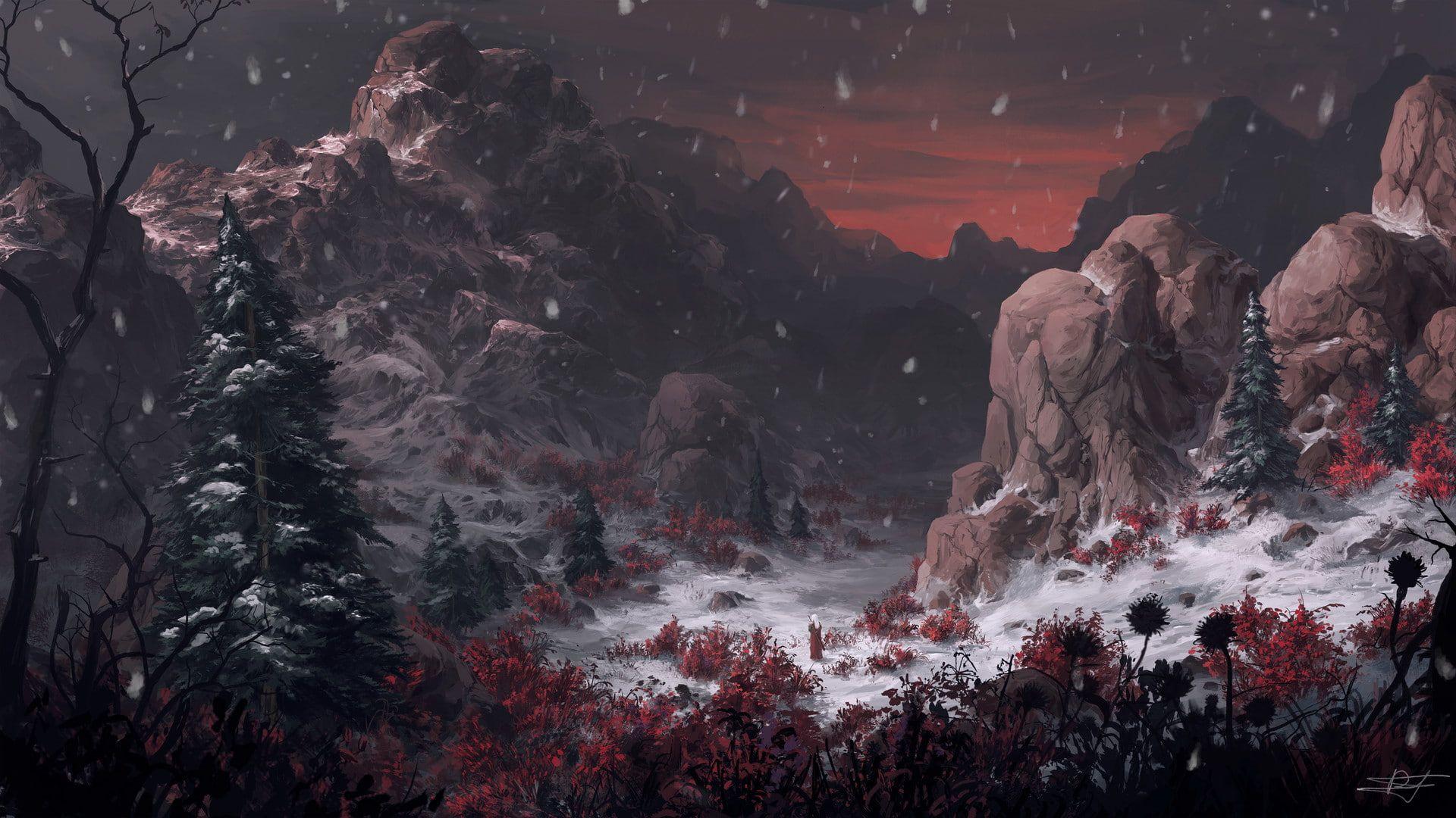 Landscape Mountains Artwork Digital Art Fantasy Art Winter Snow Rock Red 1080p Wallpaper Hdwallpaper Fantasy Landscape Digital Art Fantasy Landscape