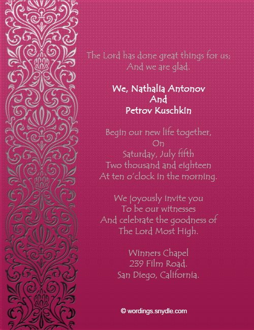 Exceptional Christian Wedding Invitation Wording Samples Wordings And Messages