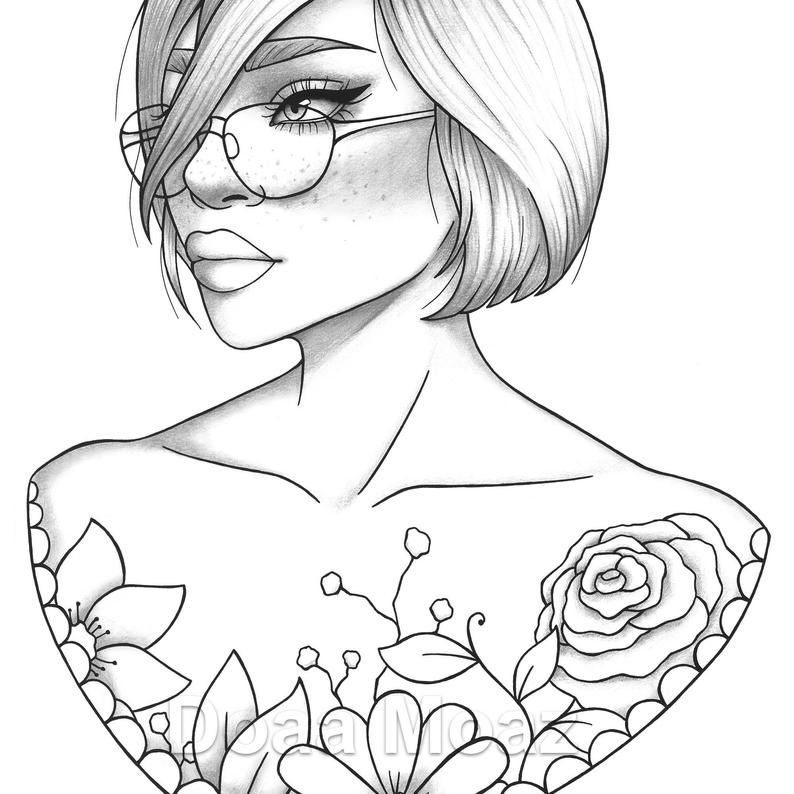 Printable Coloring Page Girl Portrait And Clothes Colouring Etsy People  Coloring Pages, Outline Drawings, Printable Coloring Pages