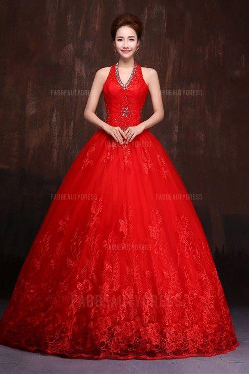 Ball Gown Halter Floor-length Lace Evening Dress