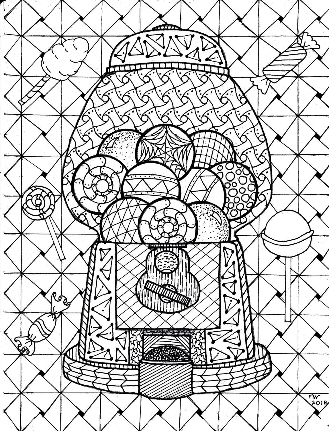 Gumball Machine Zentangle Coloring Page By
