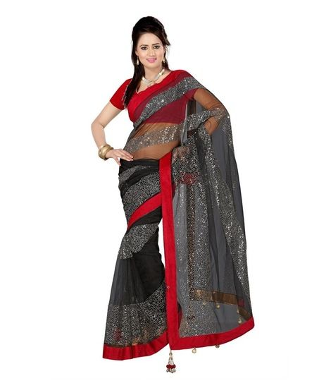 a2fd5b5ef2ad68 Styloce Black Red Net Designer Saree With Blouse at Rs. 544, 291518 |  Voonik India