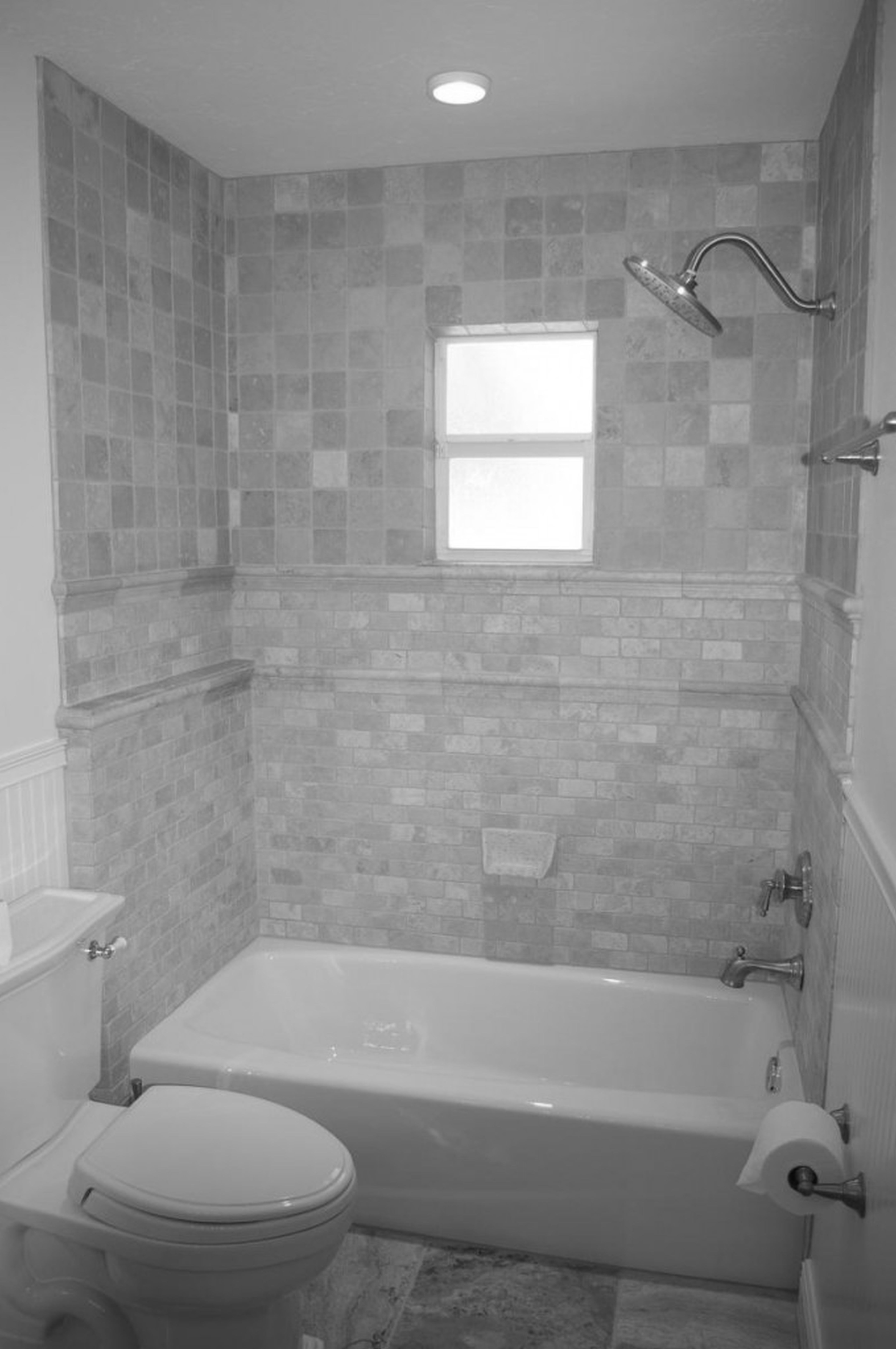bathtub and latrine connected by stainless steel shower on