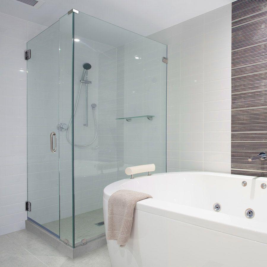 This Glass Shower Door Has 90 Degree Shower Frameless