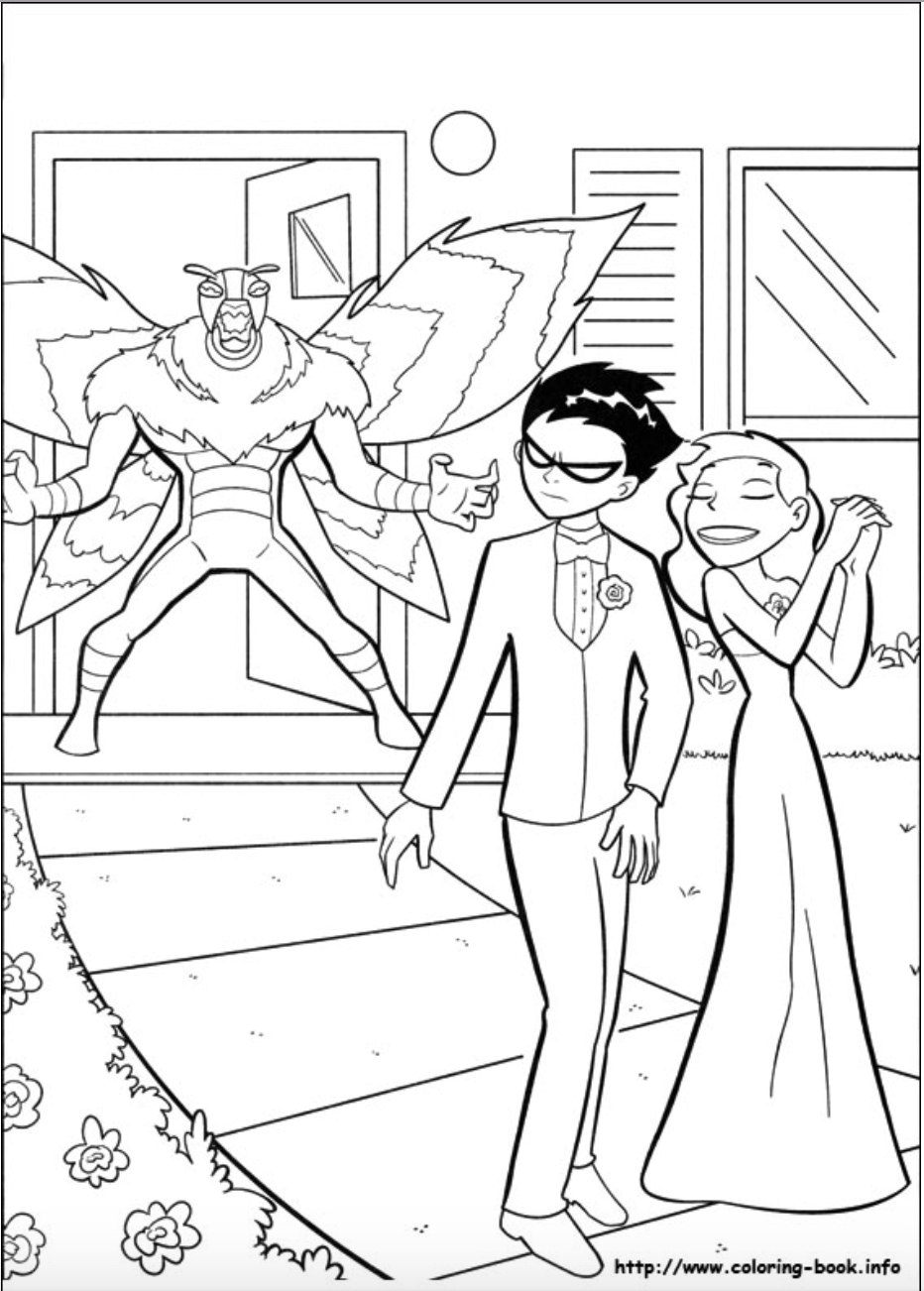 kitten forced robin to go to the prom with her coloring page