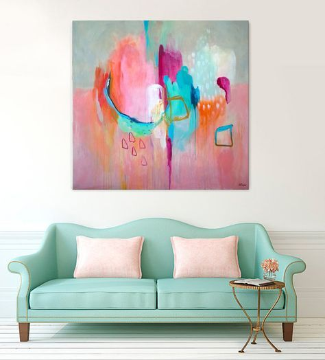 Abstract print large pink, abstract painting print, large pink ...