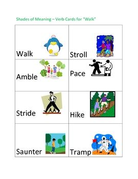 Shades Of Meaning Verb Cards Walk Students Language