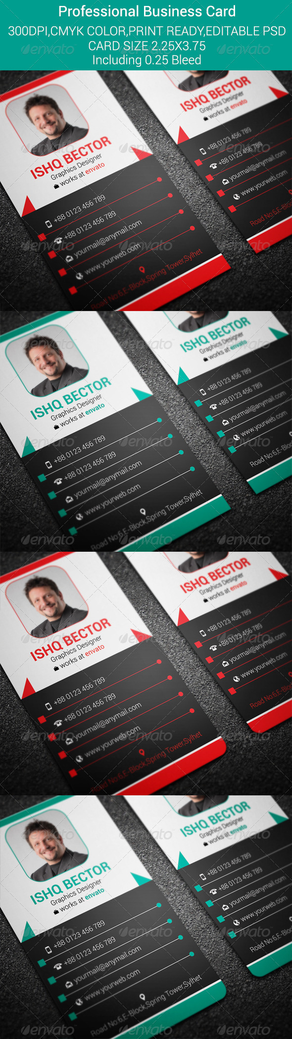 Vertical Professional Business Card-2 | Business cards, Font logo ...