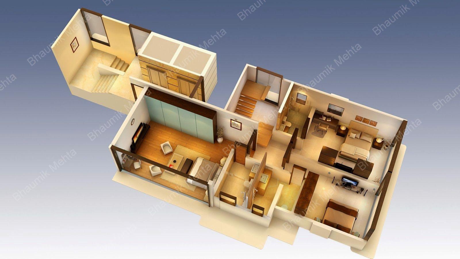Plan de maison en 3D Plan maison 3d, Plan maison et Maison