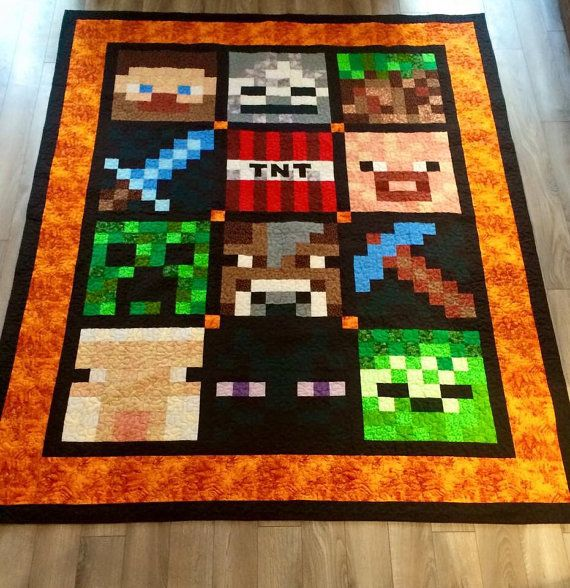 This Minecraft Inspired Quilt Is A Twin Size 56x84 With A Warm