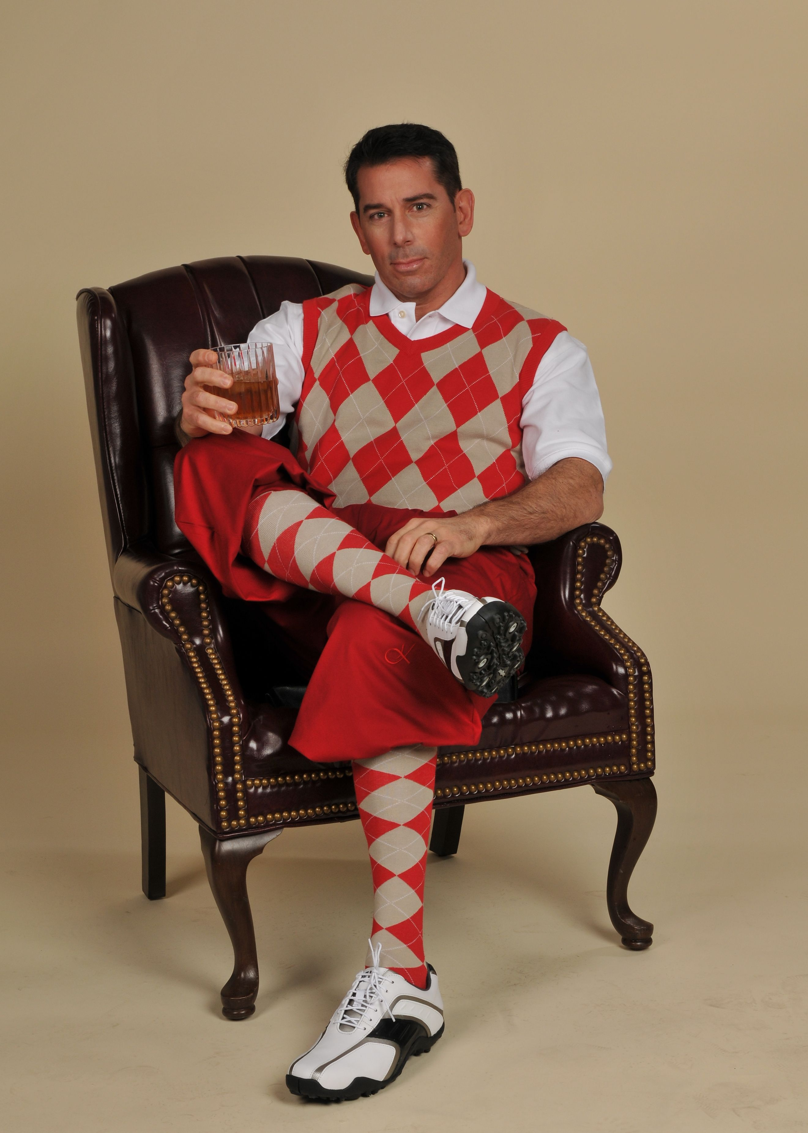 Red And White Christmas Outfit Idea Mens Golf