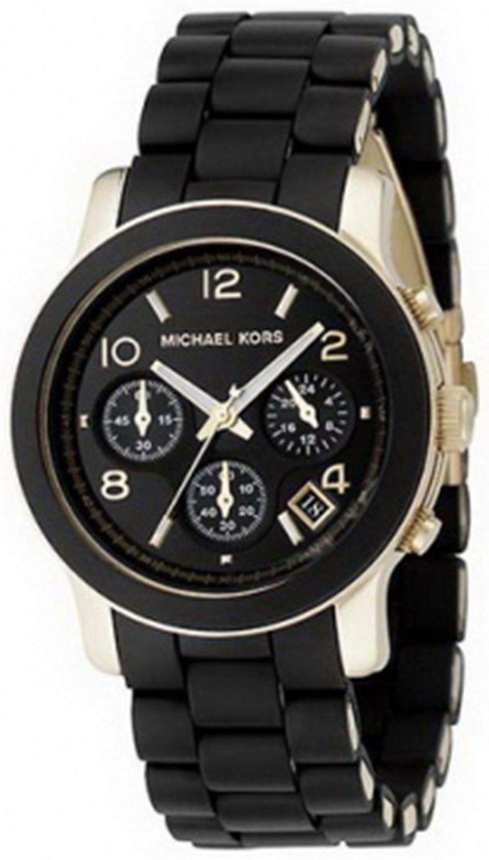 b0d54484256 Michael Kors Women's Runway MK5191 Black Rubber Quartz Fashion Watch ...