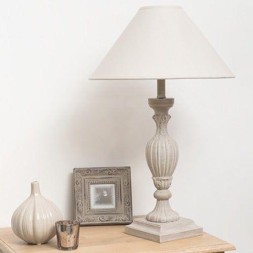 Lámpara De Mesilla De Madera Y Pantalla De Tela Gris Al 44 Cm Amorine Lámpara Lámparas De Mesa Pantalla De Tela