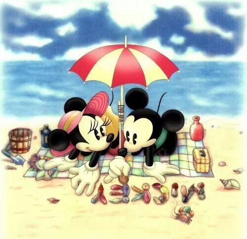 Mickey and Minnie mouse at the beach