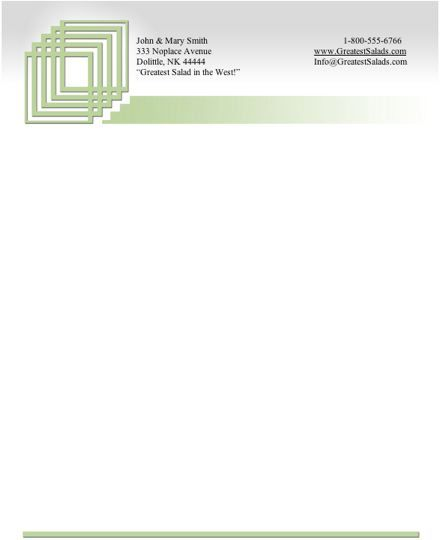 Pale green squares are inset at the top of this printable stationery