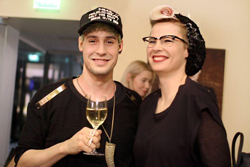 """Fashiondesigner Mert Otsamo and trashion queen Outi Pyy"