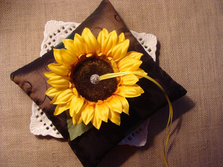 Wedding Ring Bearer Pillow Golden Yellow Sunflower on
