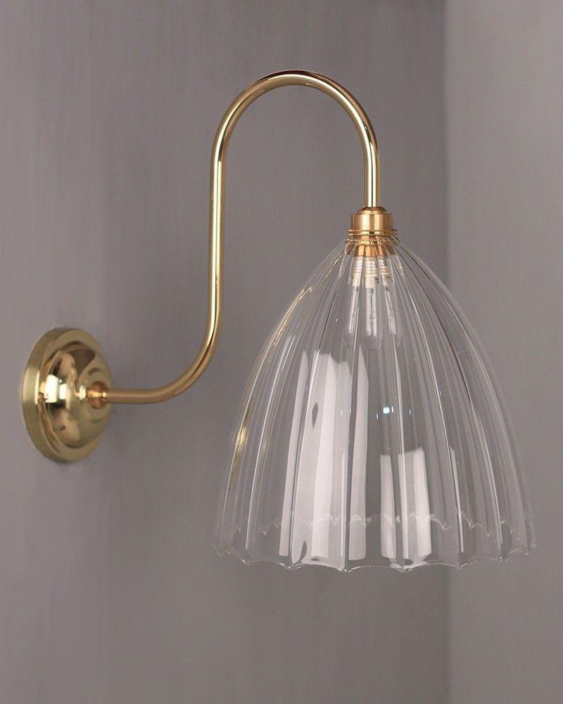 Ledbury Ribbed Swan Neck Bathroom Light Wall Lights Glass Bathroom Bathroom Wall Lights