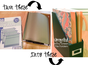 So great turn those boring green file folders into cute stylish folders.  All you need is scapbook paper and glue!