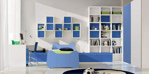 Blue White Boys Bedroom With Bookcase Ideas