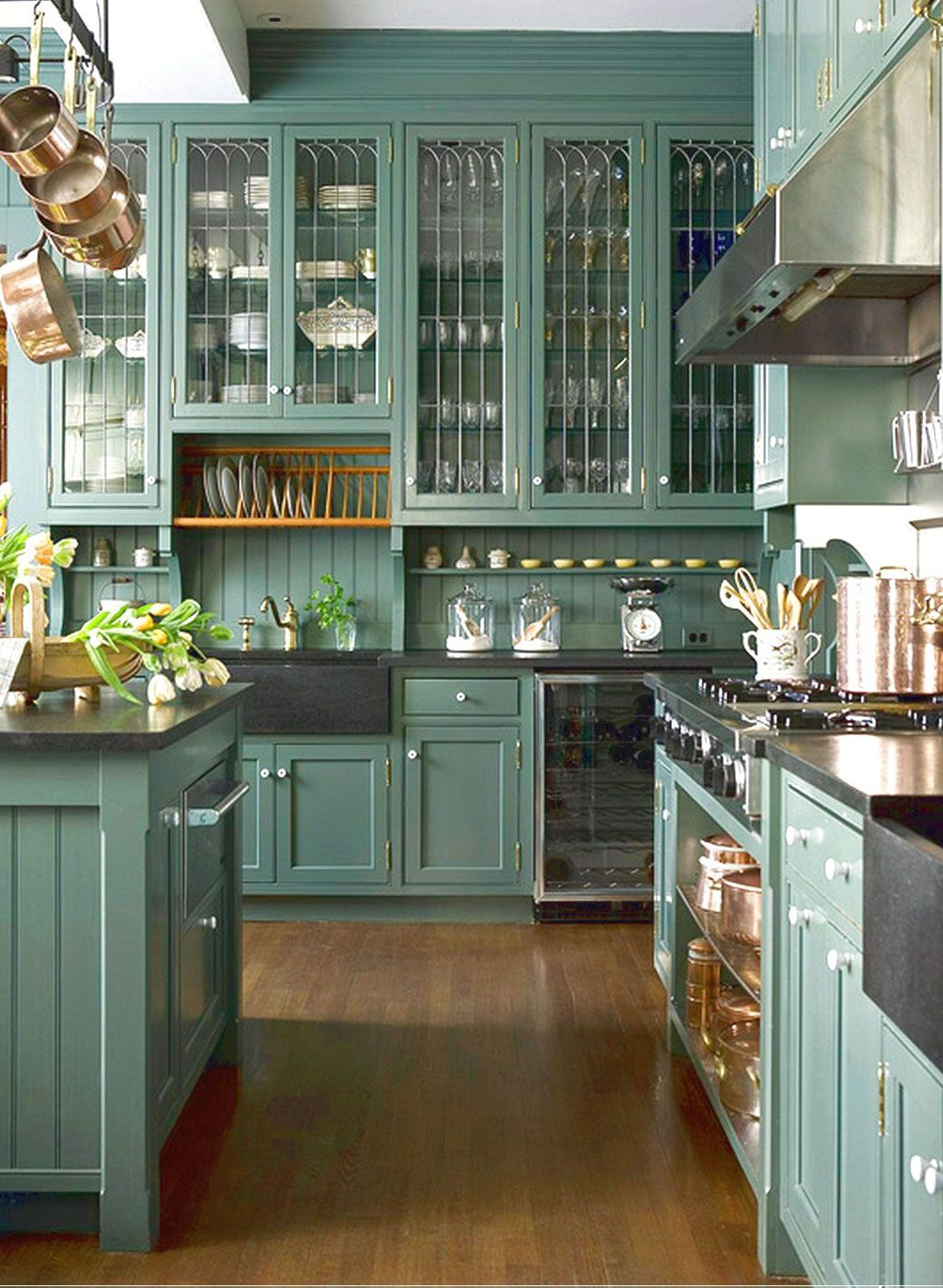 What Color Kitchen Cabinets Go With Black Countertops Google - Green kitchen cabinets with black countertops