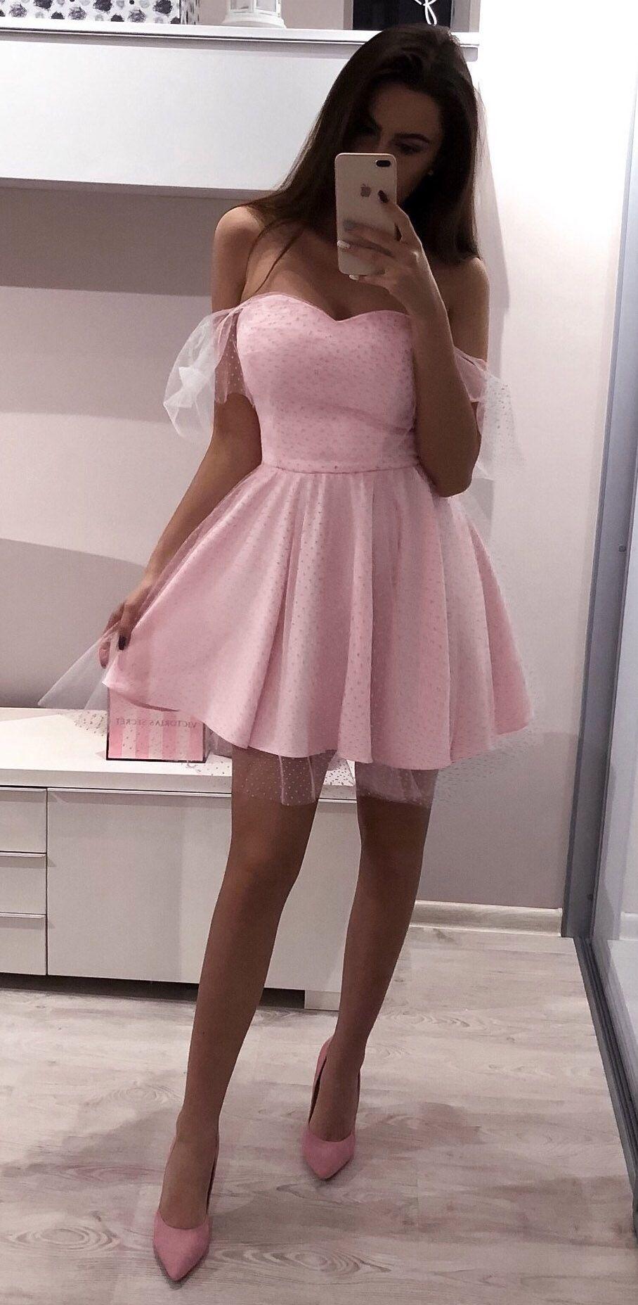 Pink polka dot mini homecoming dresses sweetheart neck mini hoco