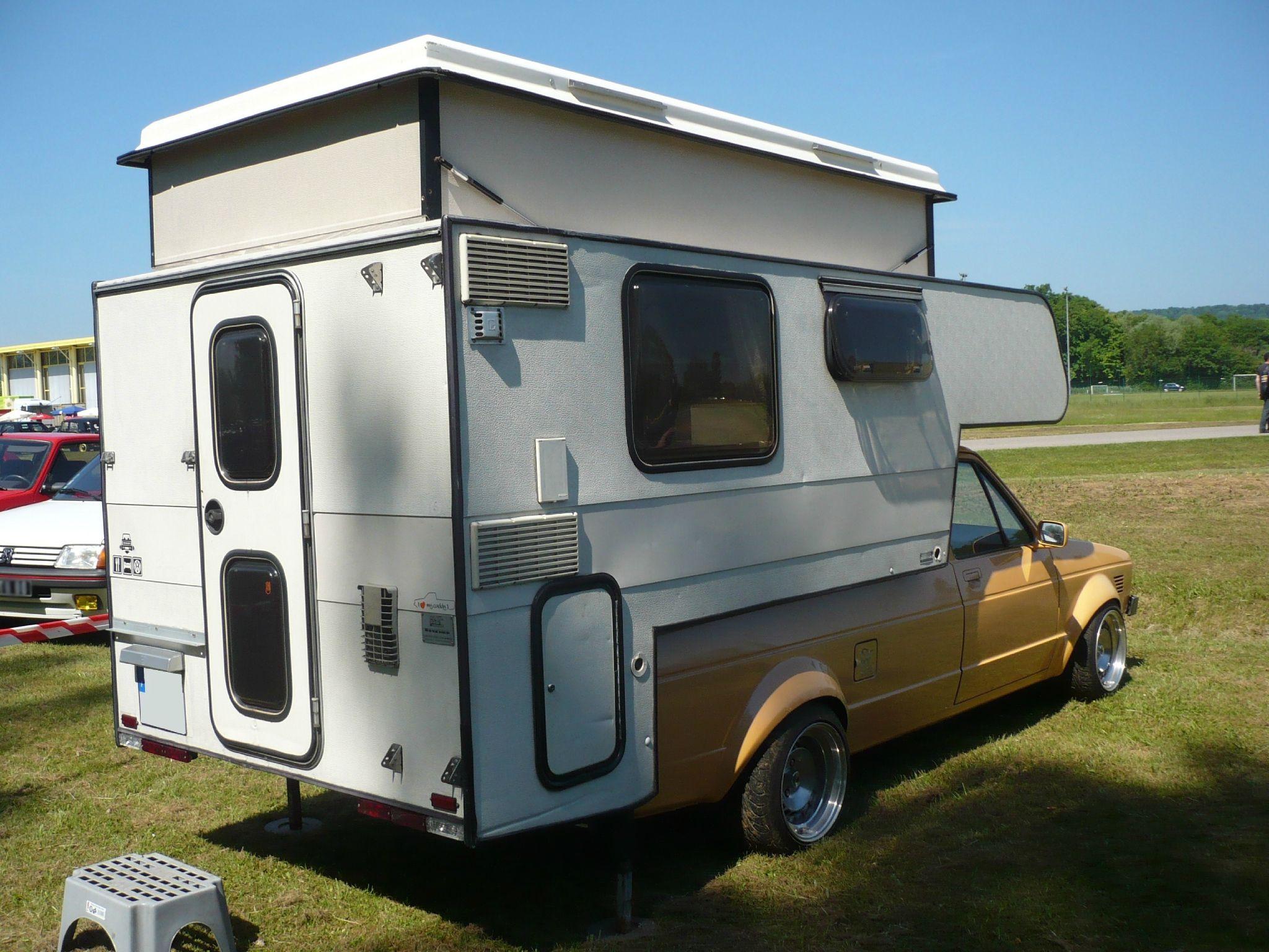 volkswagen caddy pick up avec cellule camping car vroom. Black Bedroom Furniture Sets. Home Design Ideas