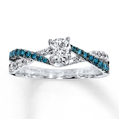 Blue/White Diamond Ring 3/4 ct tw Round-cut 14K White Gold $1475