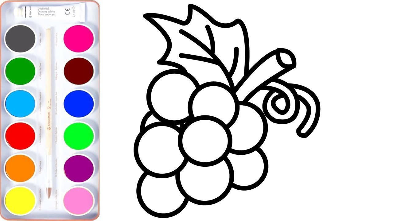 Bunch Of Grapes Coloring Pages How To Draw Fruits For Kids Coloring