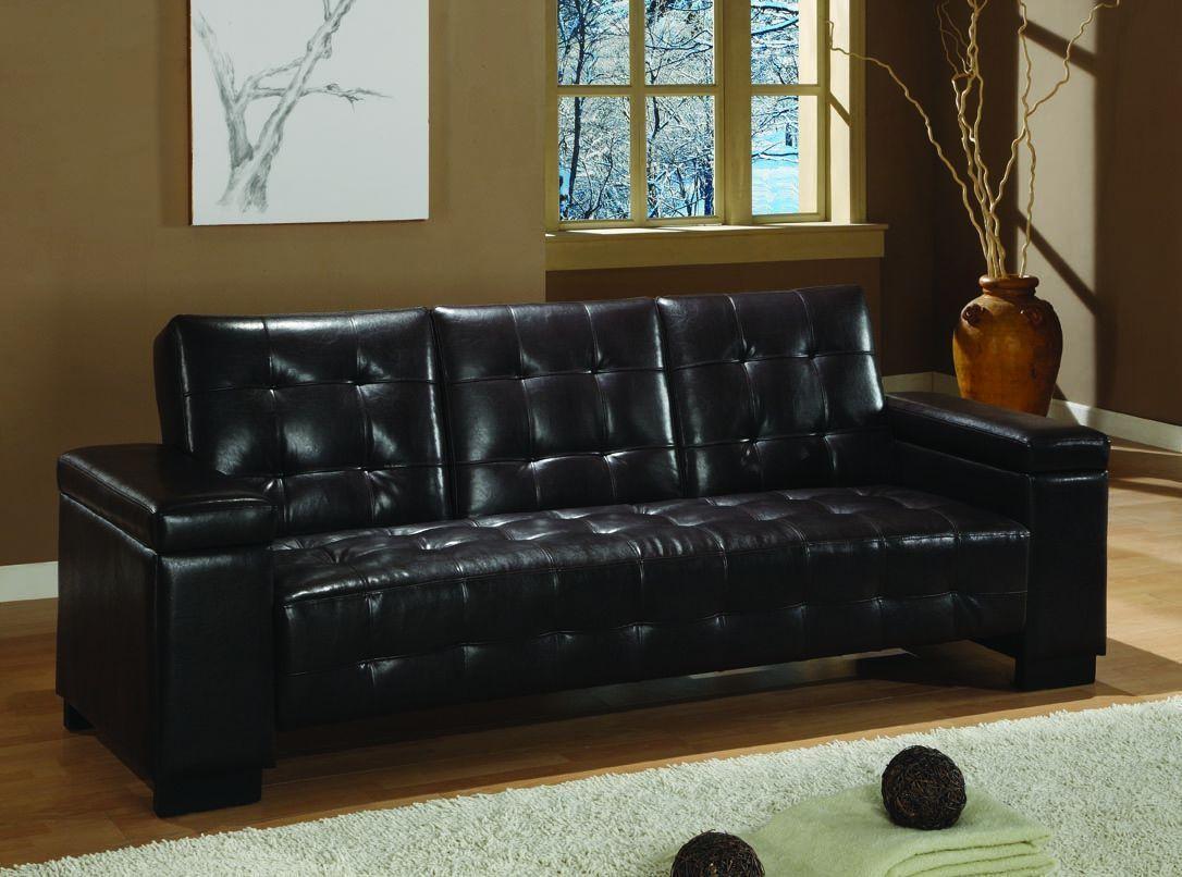 Dark Brown Vinyl Sofa Bed Stylish Sofa Bed Sofa Bed With