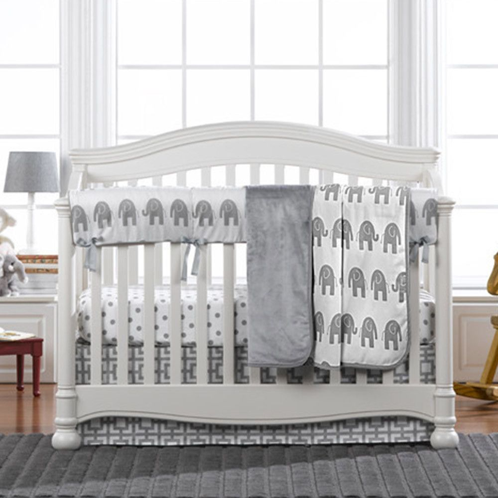 Modern Gray Elephant Crib Bedding Set With Fitted Sheet