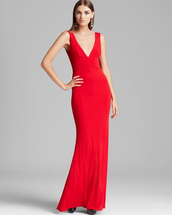 Abs by Allen Schwartz V Neck V Back Gown - Sleeveless   Products ...