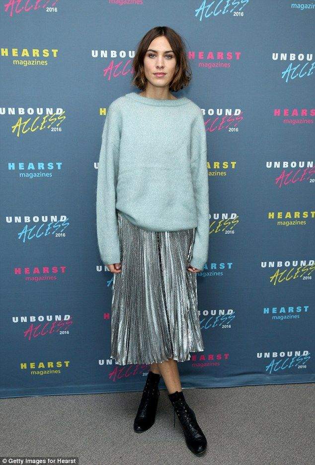 "She's in fashion: Alexa Chung looked pretty in a chic sweater and skirt combo -Try out our fashion app ""Clothe to Me"" -Clueless 3.0 - https://itunes.apple.com/fr/app/clothe-to-me/id916528299?mt=8"